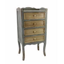 Weathered 4-tiered Cabinet with Tan Drawers
