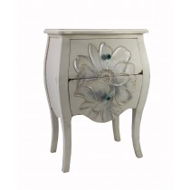 White Wooden White End Table with Flower