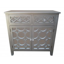 "32""H Grey Wooden Accent Cabinet"