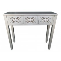 "32""H Grey Wooden 3 Drawer Console Table"