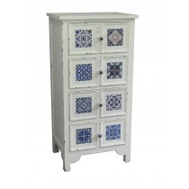 Antique Wooden 4-tiered Cabinet in White and Blue