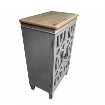 "35.5""H Grey Wood Two Doors Cabinet"