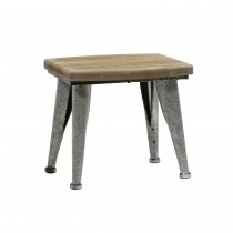 "13.4""H Metal and wood  brown stool"