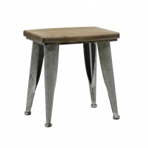 "14.2""H Metal and wood  brown stool"