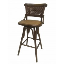 "42""H Brwon Wooden Swivel Barstool"