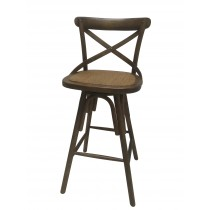 "42""H Brown Wooden Swivel Barstool"