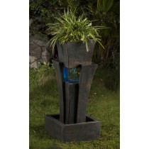 Raining Water Fountain With Planter With Led Light