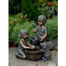 Two Kids And Dog Outdoor/Indoor Water Fountain