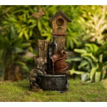 Birdhouse and Dog Water Fountain