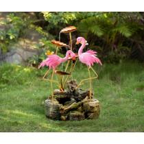 Two Flamingos Metal Water Fountain