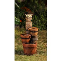 Three Pots With Solar Pillar Lamp Water Fountain