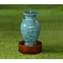 Turquoise Vase Water Fountain with Brown Base