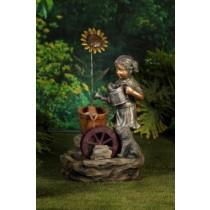 Girl Watering Sunflower Fountain