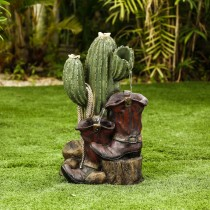 Cactus and Boot Fountain
