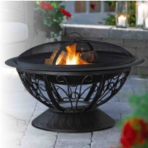 "30"" Round Steel Scroll Fire Pit"