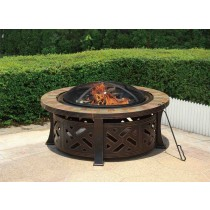 "40"" Ornate Bronze-colored Steel Fire Pit with Slate Top"