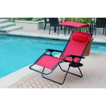 Set of 2 Oversized Zero Gravity Chair with Sunshade and Drink Tray - Red