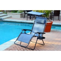Set of 2 Oversized Zero Gravity Chair with Sunshade and Drink Tray - Blue