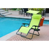 Oversized Zero Gravity Chair with Sunshade and Drink Tray - Lime Green