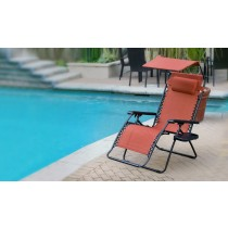 Set of 2 Oversized Olefin Zero Gravity Chair with Sunshade and Drink Tray - Terra Cotta