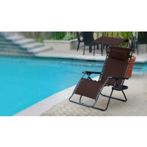 Set of 2 Oversized Olefin Zero Gravity Chair with Sunshade and Drink Tray - Mocha