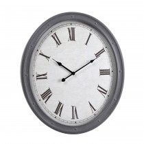 "20"" Gray Metal Oval Wall Clock"