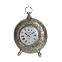 "11.5"" Silver Metal Table Clock"