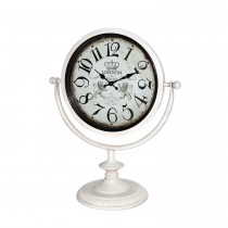 "12.5"" Off White Metal Table Clock"