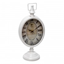 "6.75"" White Metal Table Clock"