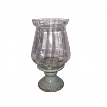 "15"" Creamic Glass Hurricane Candle Holder"