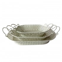 Ornate White Metal Tray (Set of 3)