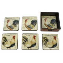 set of 7 coaster with rooster pattern