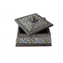 Medium Brown Square Pattern Wood Box