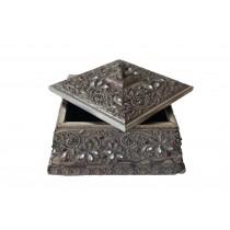 Large  Brown Square Pattern Wood Box