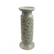 "12"" Scroll Candle Holder-Grey"