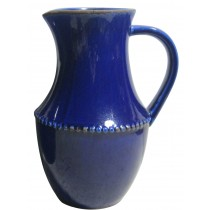 "12"" Large Indigo Ceramic Pitcher"
