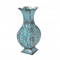 "16"" Turquoise/Silver Metal Vase"