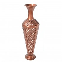 "32.5"" Copper Scroll Metal Vase"