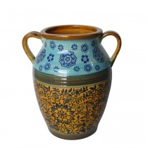 Blue & Yellow Vase with Handle