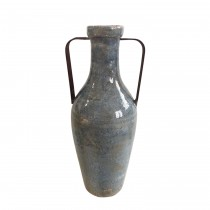 Medium Blue Vase with Metal Handle