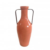 Medium Orange Vase with Metal Handle