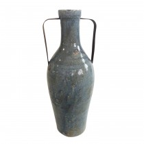 Large Blue Vase with Metal Handle