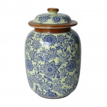 Large Blue & White Pattern Lidded Jar