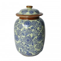 Medium Blue & White Pattern Lidded Jar