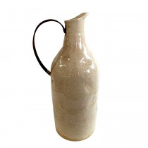 Small Beige Pitcher with Metal Handle