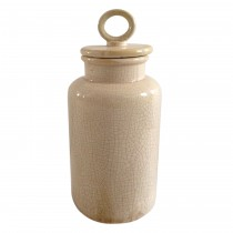 Large Cream Distress Lidded Jar