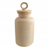 Medium Cream Distress Lidded Jar
