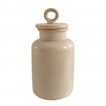 Small Cream Distress Lidded Jar