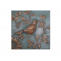 Metal Bird on Turquoise Wall Decor