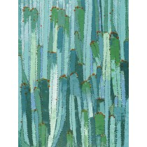 36 X 48 Green Cactus Oil Painting Wall Decor
